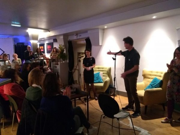 The audience at Novel Nights credit Sabrin Hasbun chatting about her PhD in creative writing with Jari Moate
