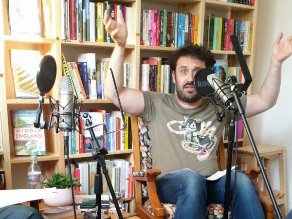 Image of guest speaker Tim Clare in a bookshop